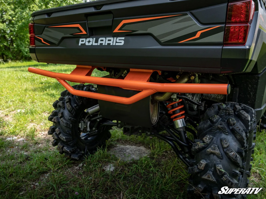 An example of billet aluminum spring spacers visible on the shocks of this Polaris Ranger.