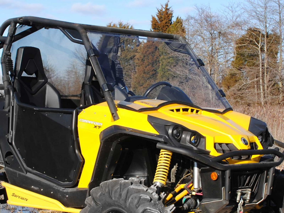 A picture of a windshield on a UTV