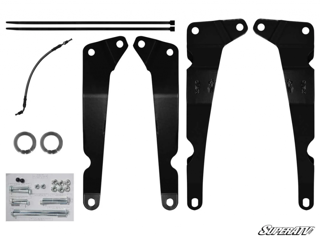 """The components of a Kawasaki Teryx 2"""" lift kit that uses brackets"""