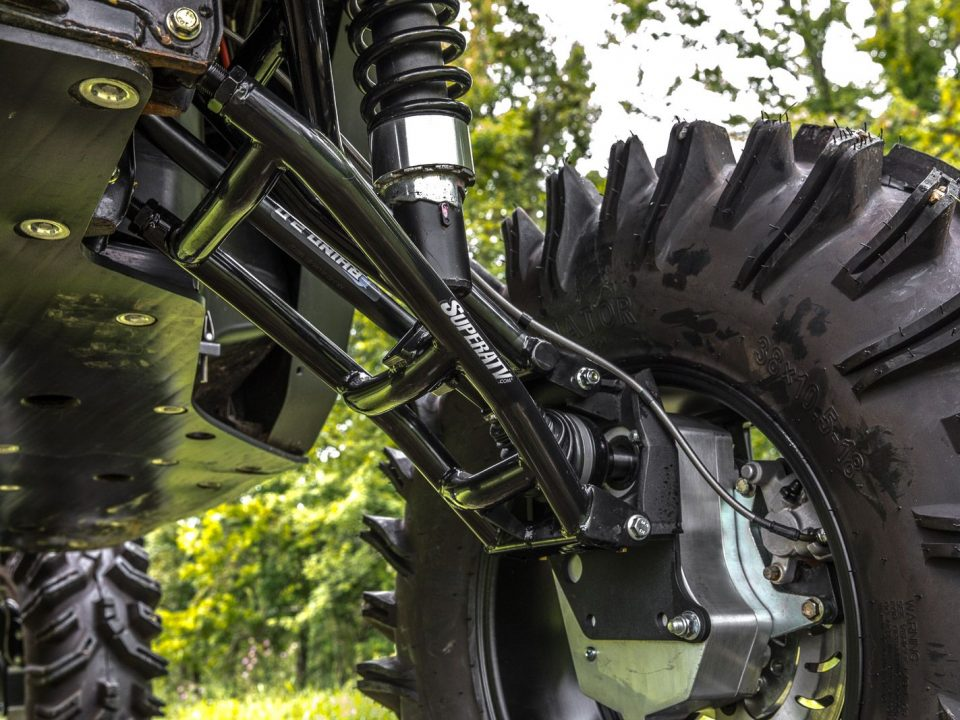 A portal gear lift installed on a Can-Am Defender