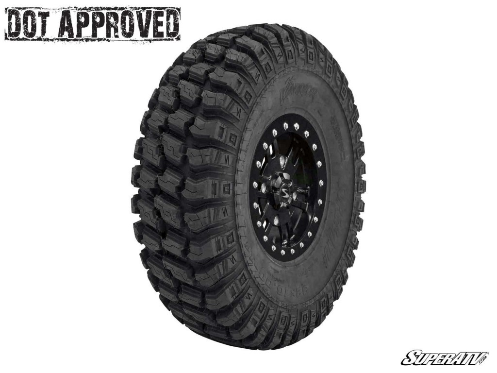 This photo shows one of SuperATV's AT Warrior tires. These tires are perfect for driving on any type of terrain.