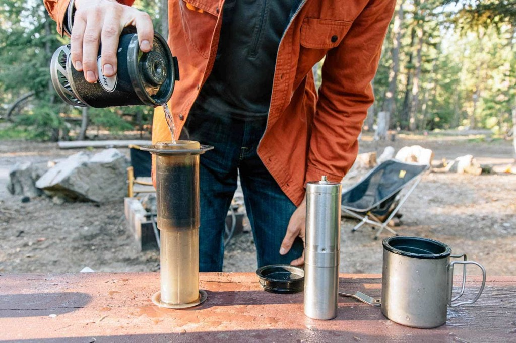 This photo shows the Aeropress in use. It's a portable, convenient way to make delicious coffee while you're on the go.
