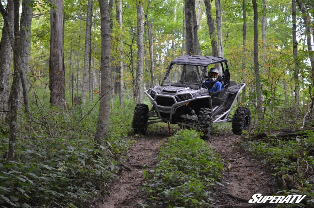 UTV on wooded trail