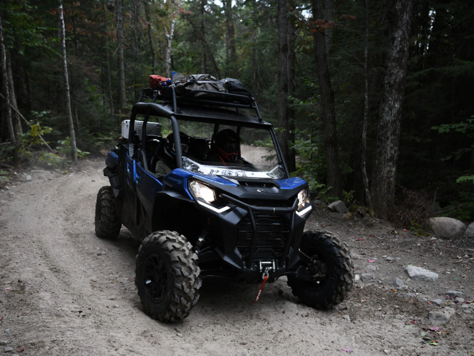 A 2021 Can-Am Commander with extra LinQ system cargo racks installed.