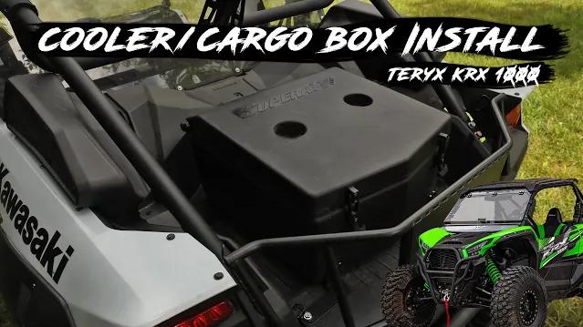 A UTV cooler/cargo box installed on a Kawasaki Teryx KRX