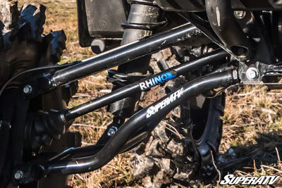 This close-up shot shows a set of Rhino Brand Axles installed on our Honda Pioneer 1000 build.