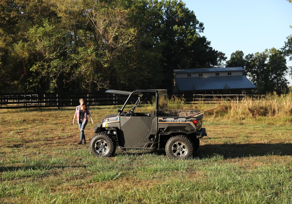 A Polaris Ranger 1000 being used for chores