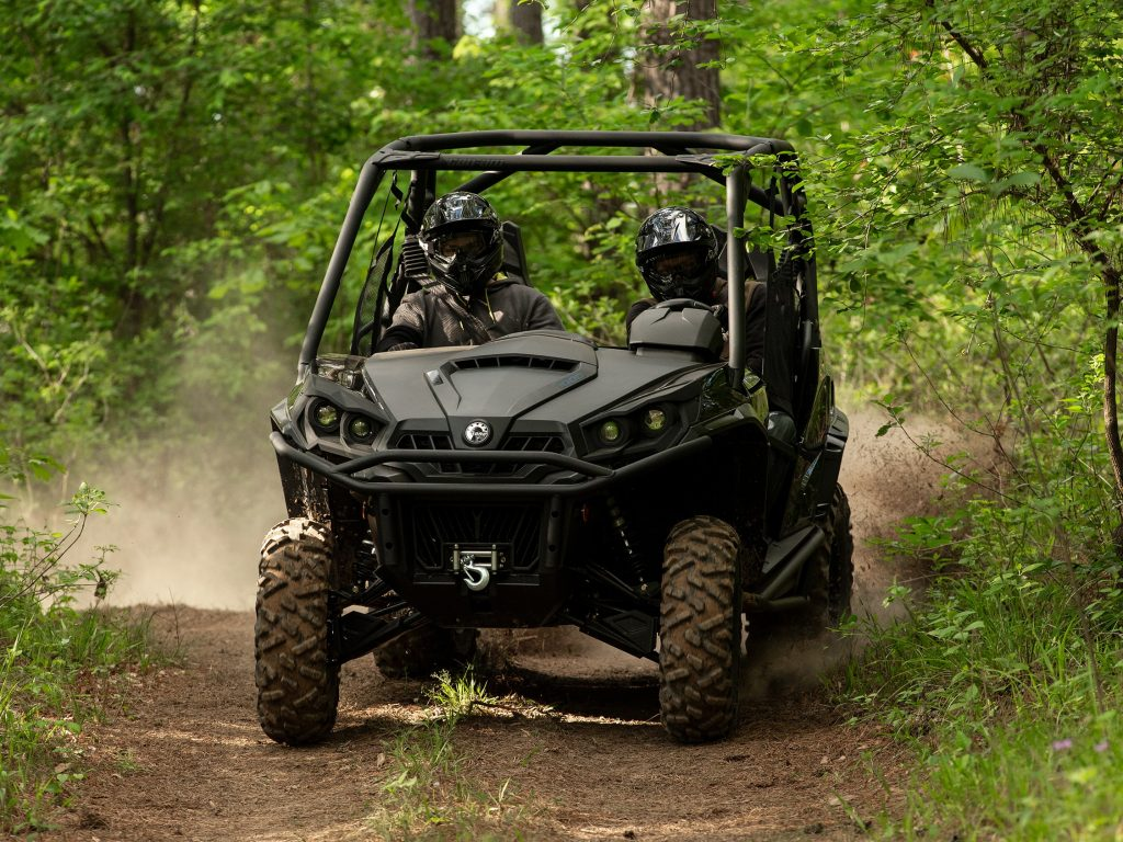 A can Am Commander on an easy trail