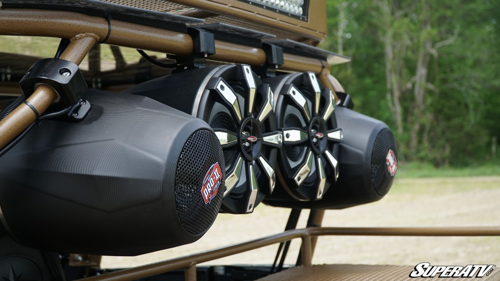 This close-up shot shows the ProBox speakers that were installed on Easton Corbin's custom Polaris General build.