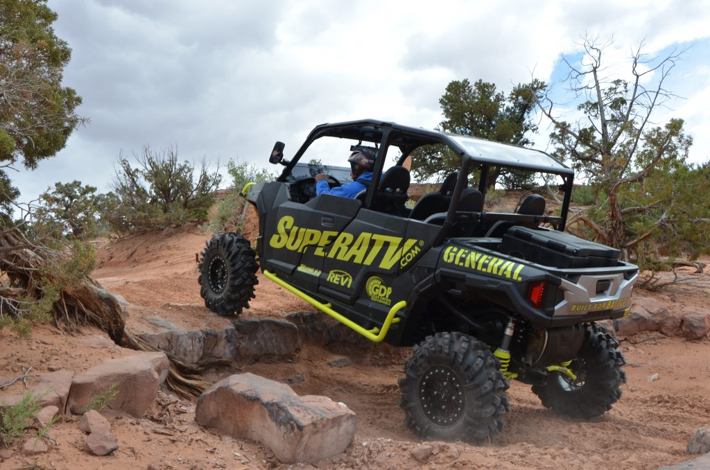 A custom Polaris General 4-seater at moab