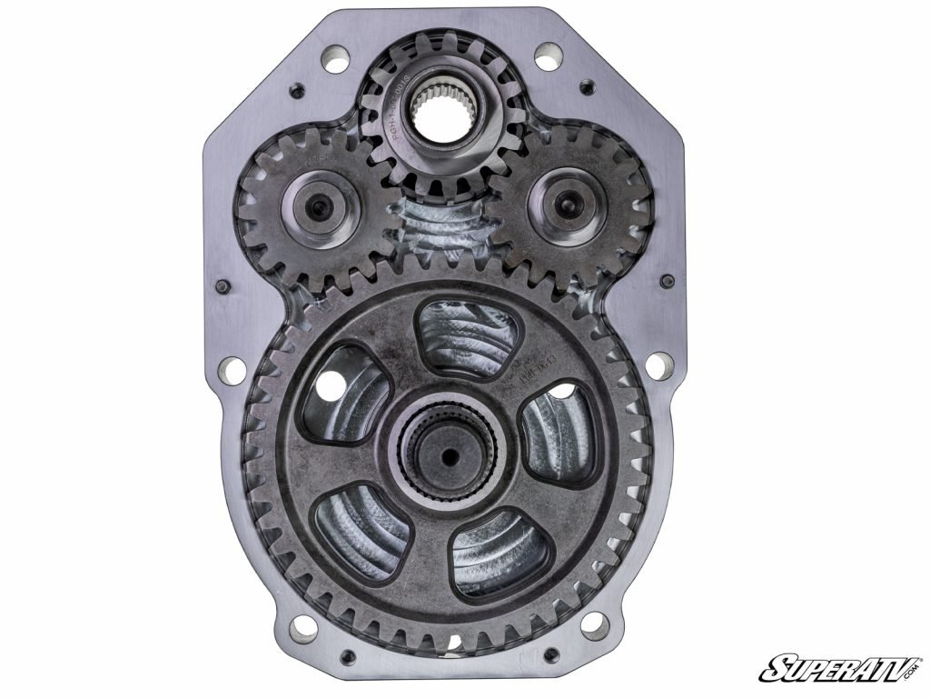 The inside of a GDP portal gear box with dual idler gears