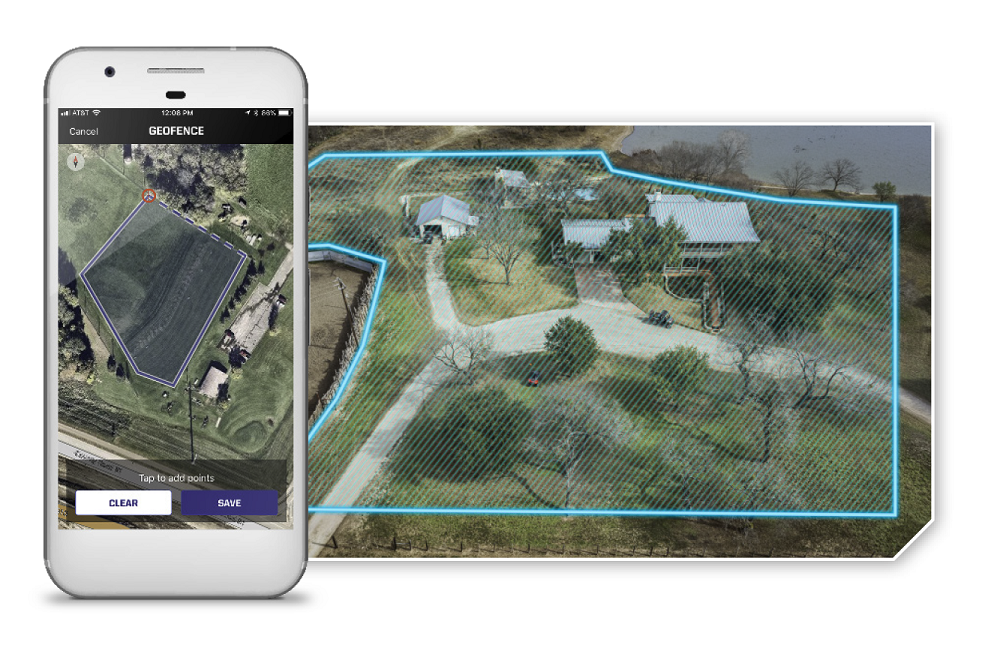 This photo shows a birds-eye view of a farm with a digital fence placed around it, matching up with an image on the cell phone. This shows how you can use the Ride Command app to set boundaries of where your machine can be ridden.