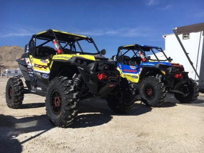 A photo of Mitch Guthrie Jr.'s and Mitch Guthrie Sr.'s machines at the King of the Hammers 2018 event.