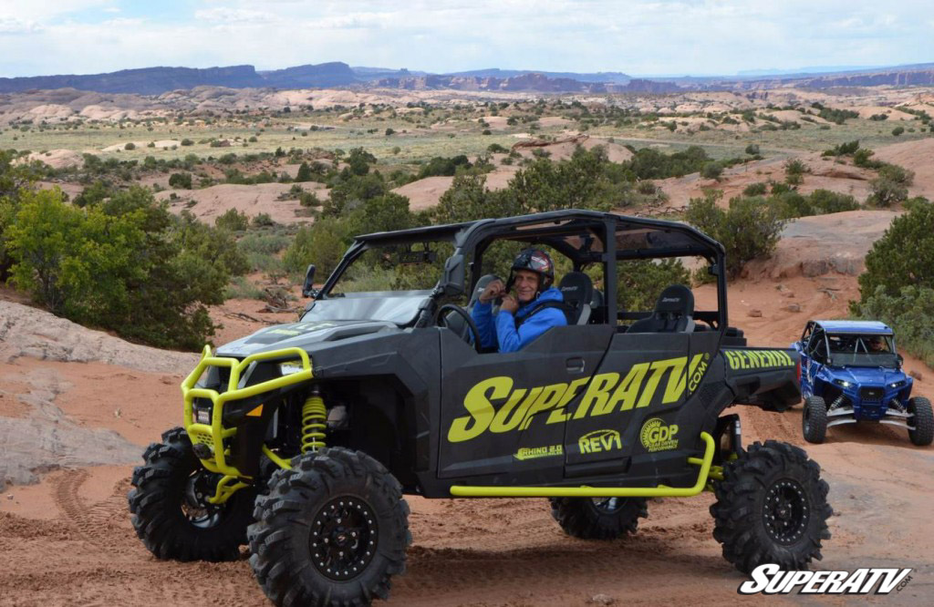 SuperATV founder and president Harold Hunt sits behind the driver's wheel of the custom General build.