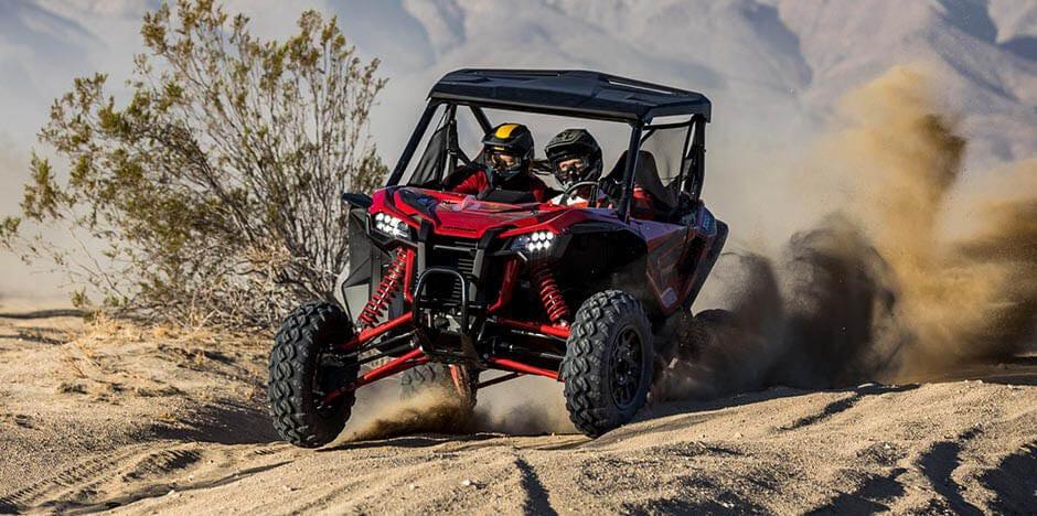 A Honda Talon racing in the desert