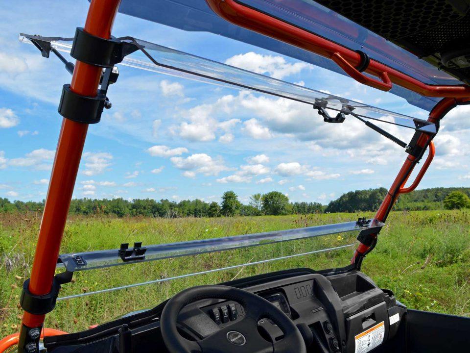 A flip windshield installed on a Kawasaki Mule Pro FXT