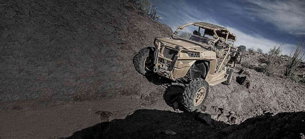 An MRZR is pictured in the harsh conditions where they regularly operate.
