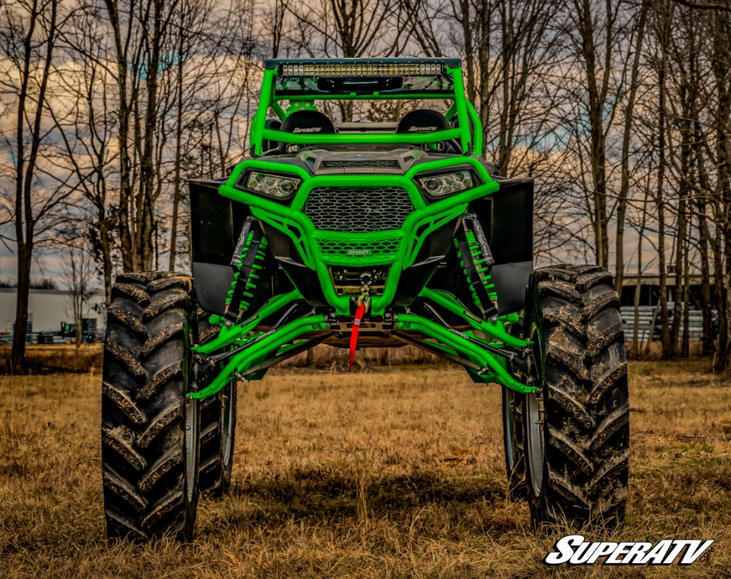 """A Polaris RZR with a big lift kit and 8"""" GDP Portals showing how big UTV tires can get."""