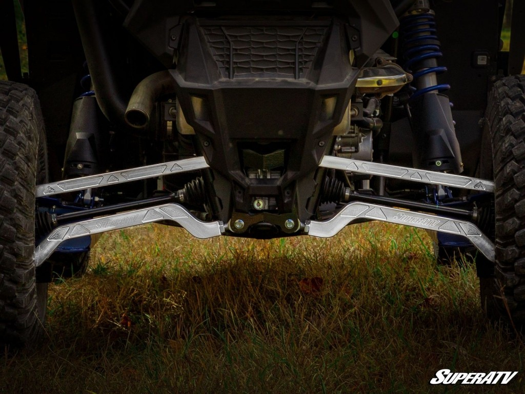 This photo shows the unique bend design of SuperATV's A-arms.
