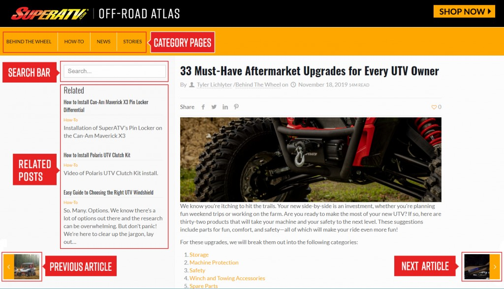 This screenshot from SuperATV's Off-Road Atlas page shows how easy it is to navigate from one article to the next. There are categories listed along the top, navigational arrows to the left and right, and a list of related articles on every page.