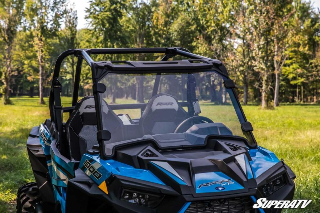 A Polaris RZR XP 1000 sports a full windshield.