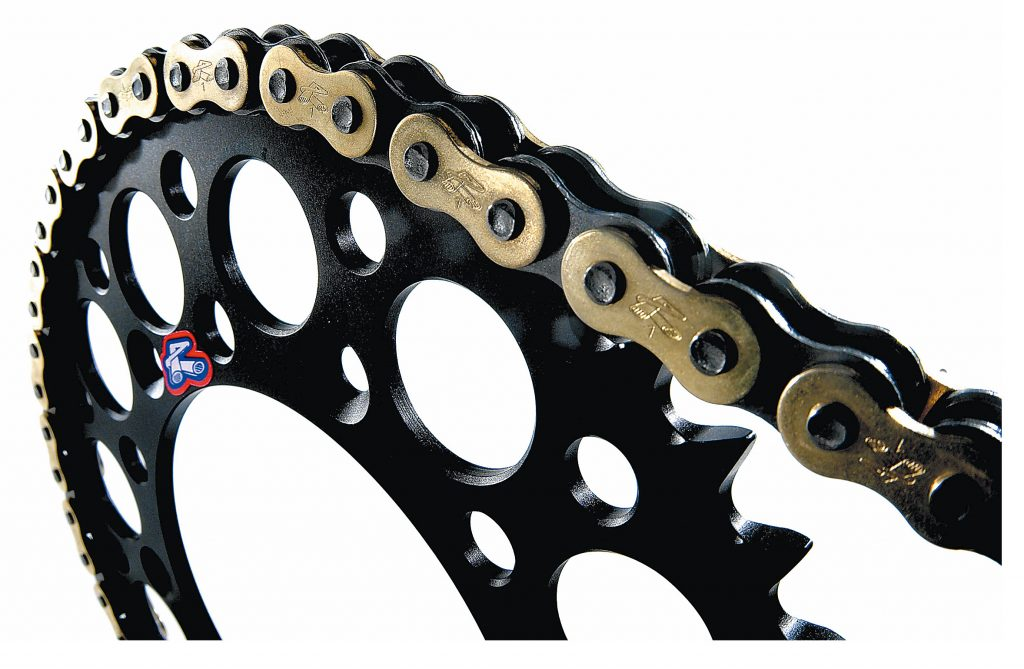 A sprocket and chain.