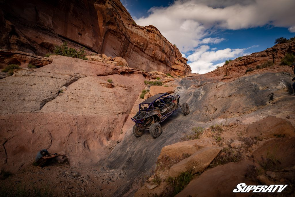 A 4-seater RZR on Pritchett Canyon Trail in Moab