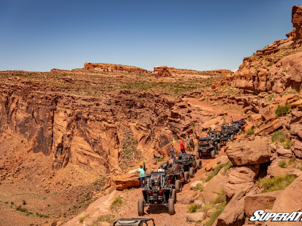 A caravan of UTVs at Rally on the rocks in Moab