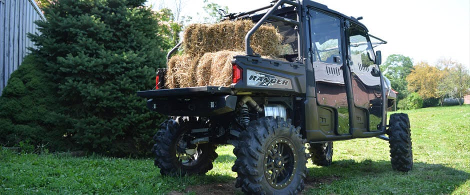 A polaris Ranger making use of its cargo bed