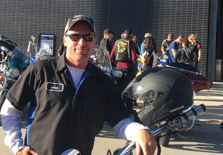 Shawn King with his motorcycle