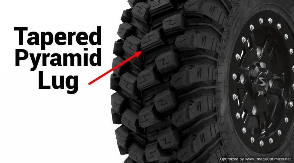 The advanced tapered pyramid design adds grip and keeps the tire clean.