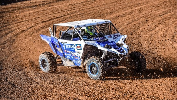 A UTV is shown during a professional race.