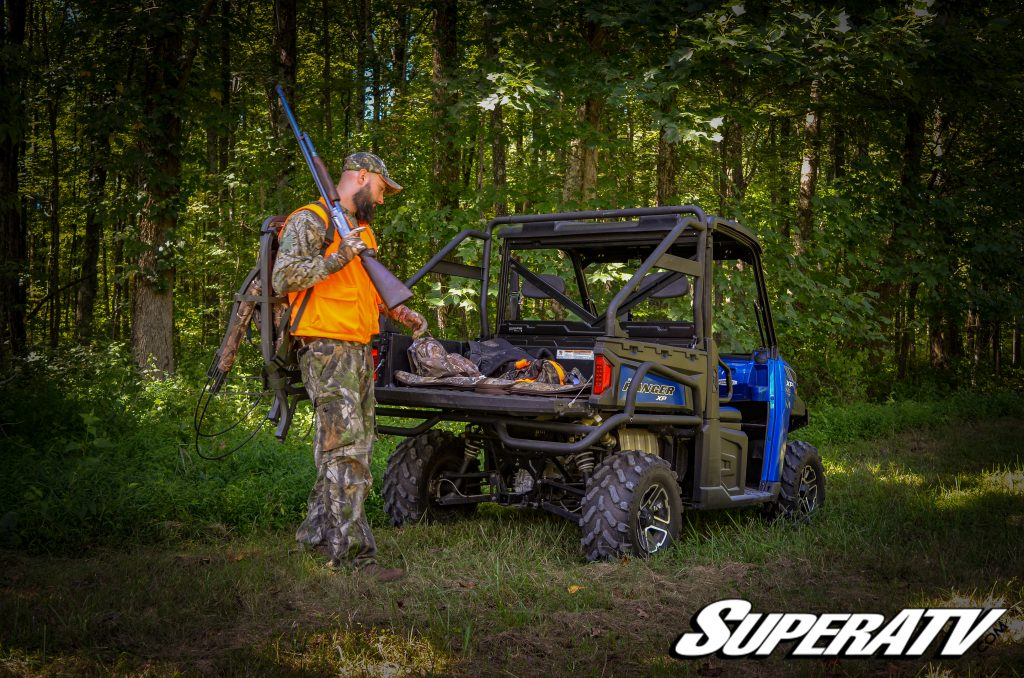 A Polaris Ranger loaded with hunting gear.