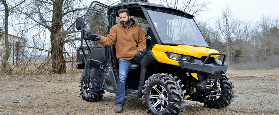 A fully closed in Can-Am Defender makes it easy to ride all through winter
