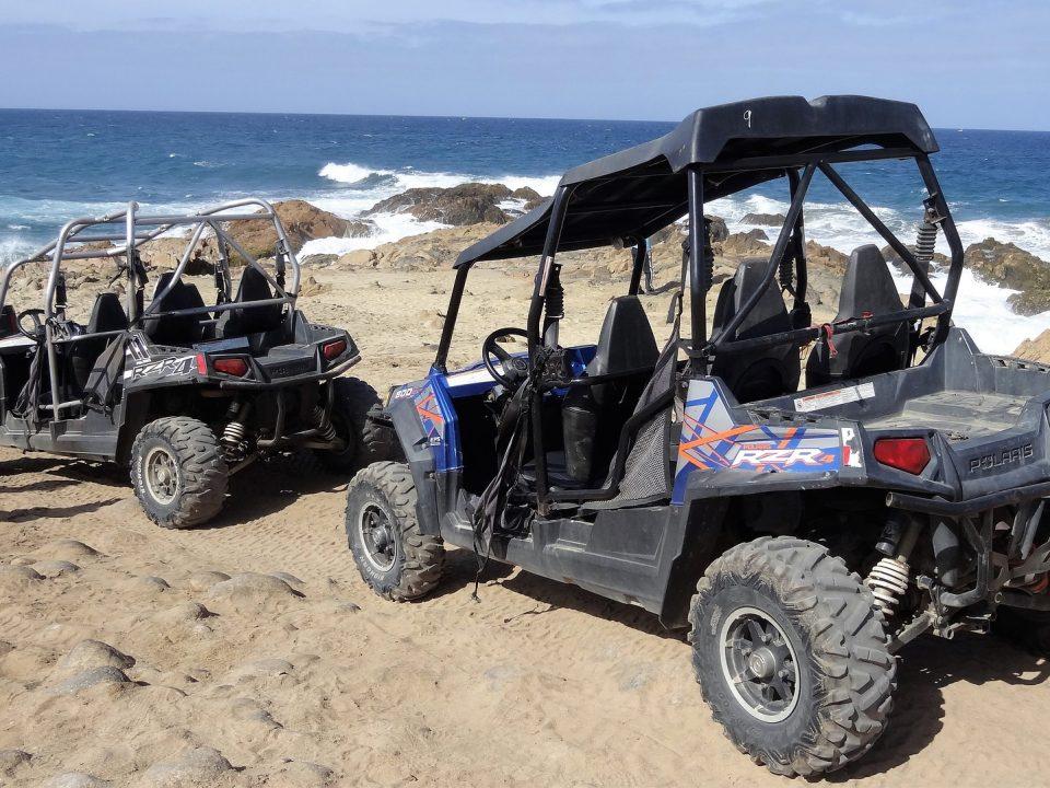 4 seater UTVs at the beach