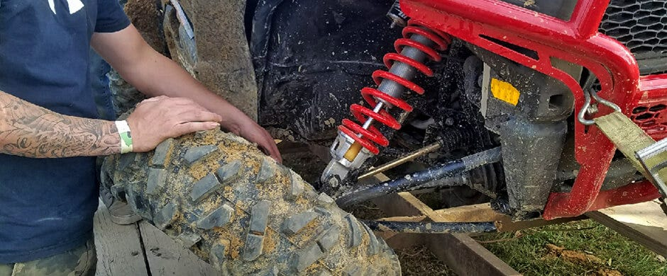 A riding mistake leads to a broken suspension and axle