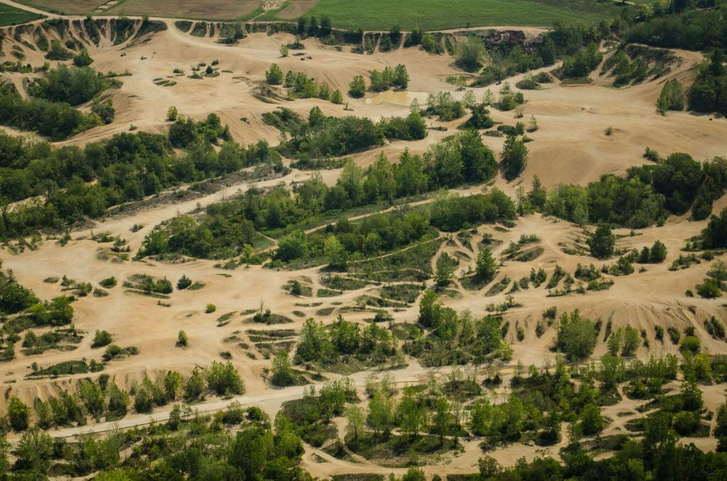An aerial view of the trails at Badlands Off-Road Park