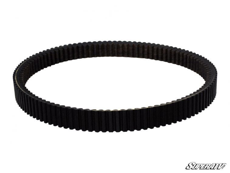 A photo of a drive belt on a white background.