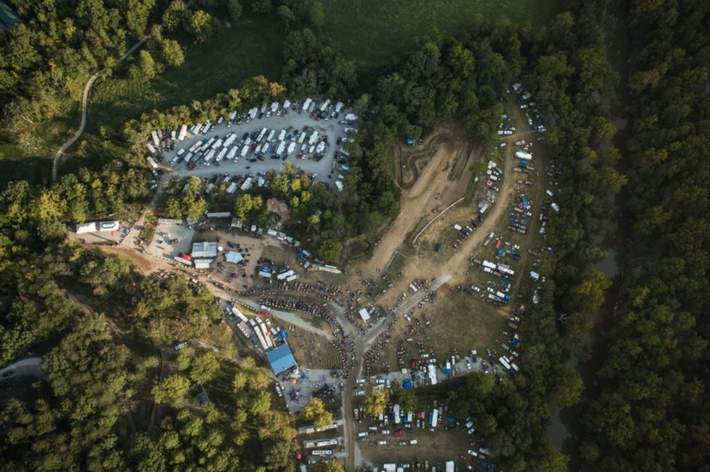 An aerial shot of the trails at Brimstone Recreation