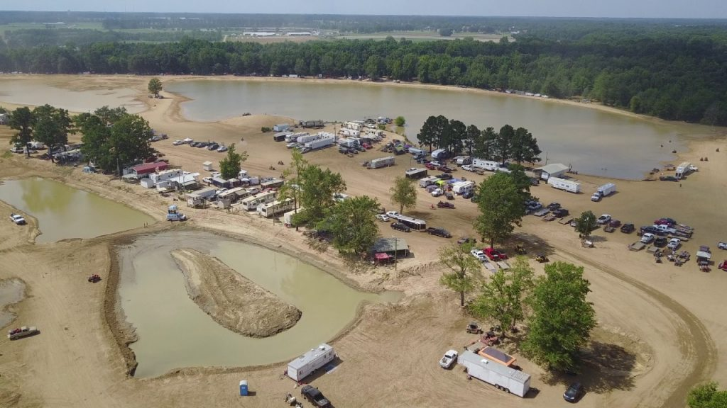 An aerial shot of the trails at Busco Beach in NC
