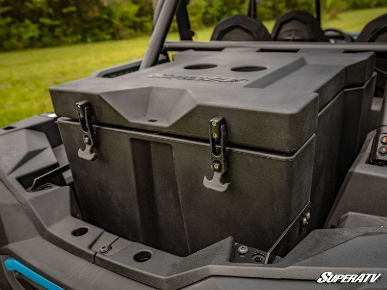 This image shows one of SuperATV's rear cargo box storage solutions.