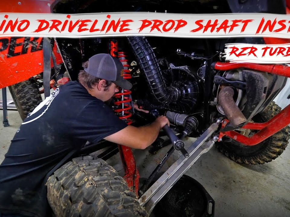 Braden installing a Rhino Driveline Prop Shaft onto a Polaris RZR Turbo S