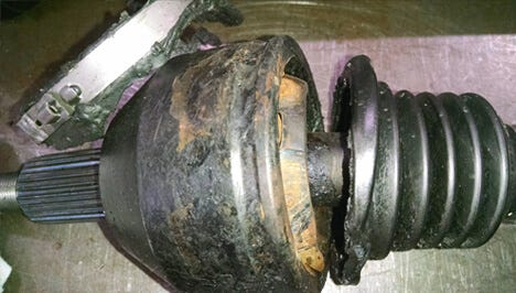 A damaged CV joint