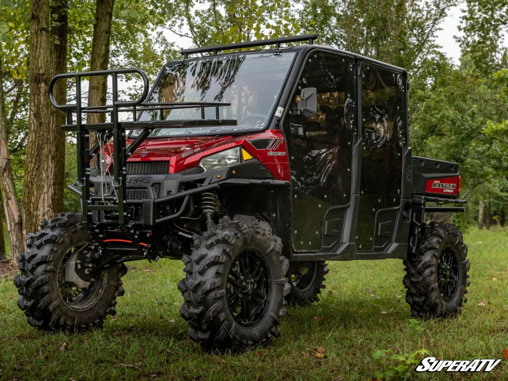 This Ranger has SuperATV's winch-operated deer lift installed on the front. With this equipment on your machine, you can easily load up large game all by yourself.