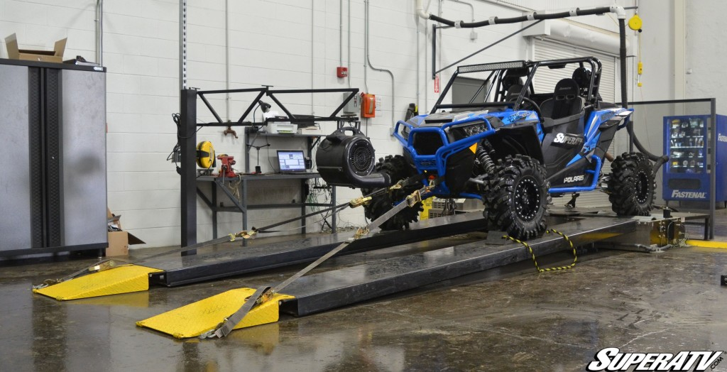 This photo shows a Polaris RZR being tested on one of SuperATV's in-house dynamometers.