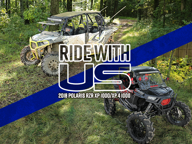 Ride with Us logo with RZR XP 1000s
