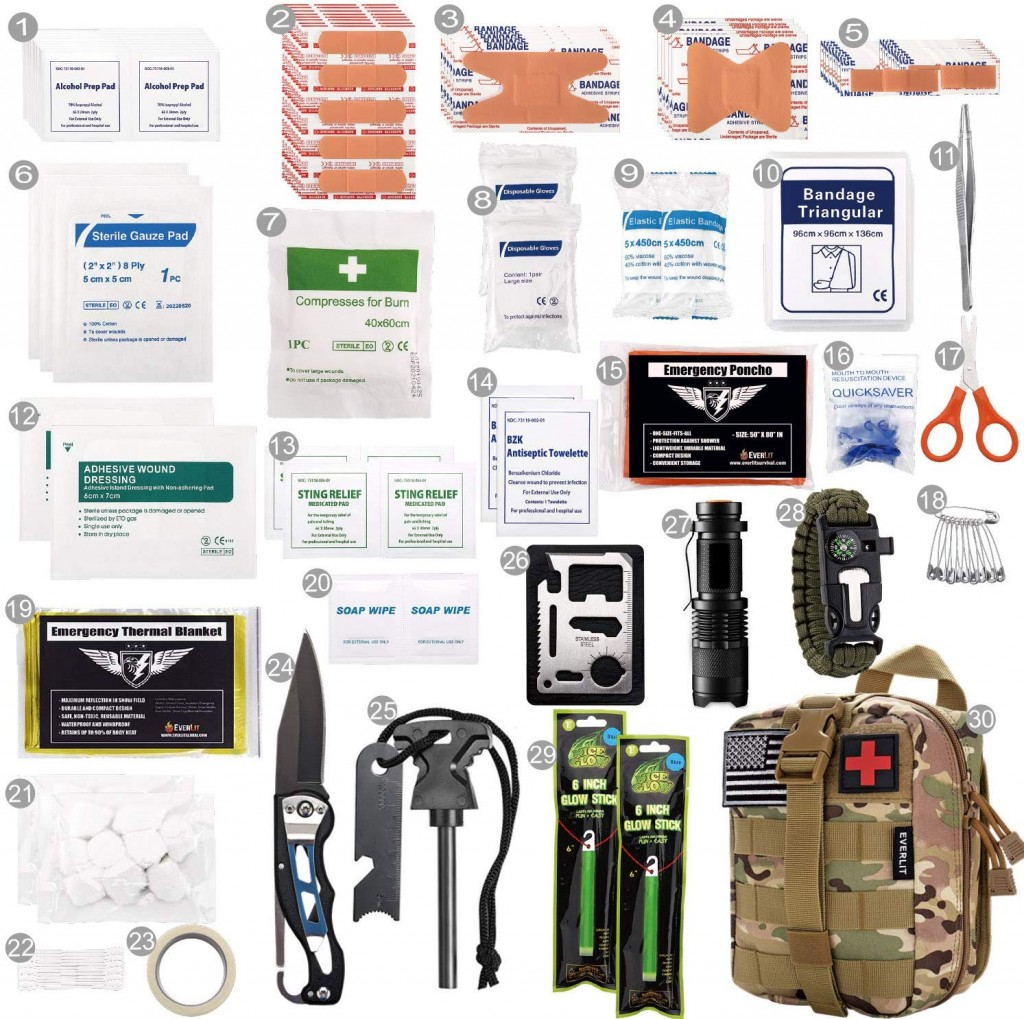 This graphic shows thirty different products that should be kept in a first-aid kit, including bandages, alcohol pads, and gauze.