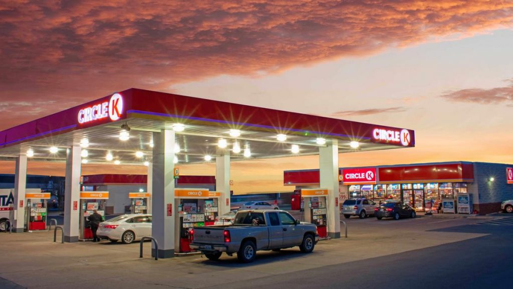 A gas station is pictured at sunset. Planning your fuel stops in advance is a huge must when following the TransAmerica Trail.