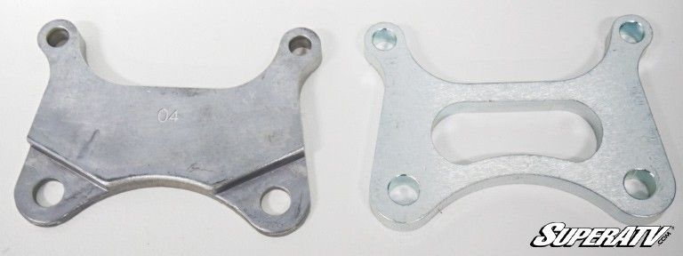 Gen 2 caliper mounting plate comparison.