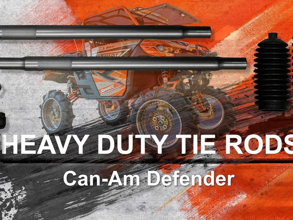A Can-Am Defender Heavy-Duty tie rod kit about to be installed